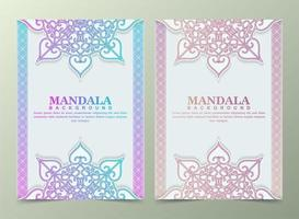 Vintage greeting card with colorful mandala motif vector