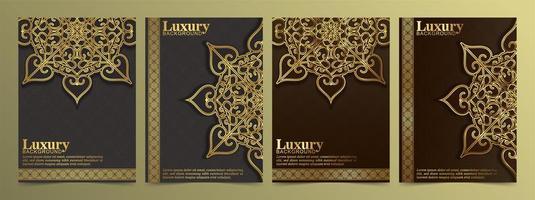 tarjeta de felicitación dorada de lujo con adornos de mandala vector