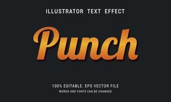 efecto de texto de ponche degradado de oro naranja vector