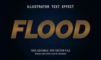 efecto de texto de inundación brillante dorado oscuro vector