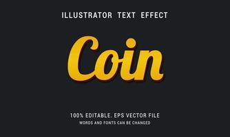 efecto de texto de moneda de oro brillante vector