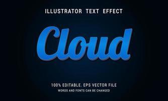 effet de texte nuage dégradé bleu brillant vecteur