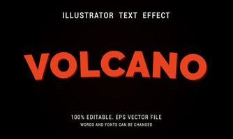 efeito de texto vulcão vermelho curvo vetor