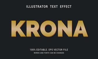 efecto de texto de corona de oro degradado vector