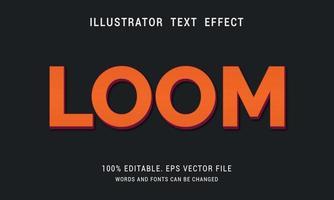 Orange with Dark Red Edge Loom Text Effect vector