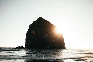 Silhouette of Haystack Rock, Oregon  photo