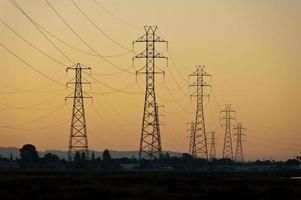 Power towers over sunset