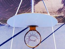 Top view of basketball hoop during day