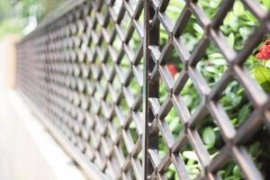 Aluminum fence near flowers  photo