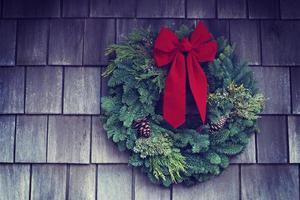 Wreath mounted on wall