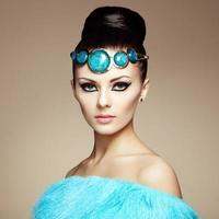 Glamour women in fur cape photo
