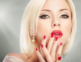 Blonde woman face photo
