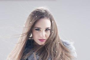 sensual girl in a fur coat