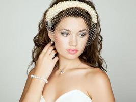 retrato de hermosa novia. foto de boda