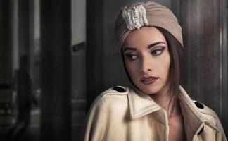 beautiful stylish woman in oriental style in turban