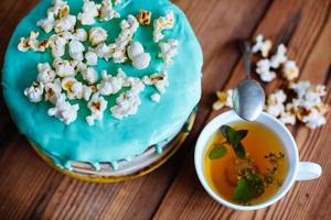 cake with popcorn