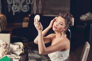 Bride with mirror