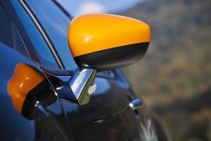 Modern sports car rear view mirror
