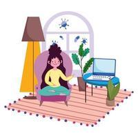 jovem mulher em uma cadeira com laptop dentro de casa vetor