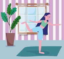 Teenage girl stretching on a yoga mat at home vector