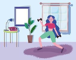 mujer joven, levantar pesas, en casa