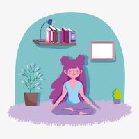 niña feliz practicando yoga en casa