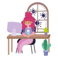 Female character working from home during quarantine