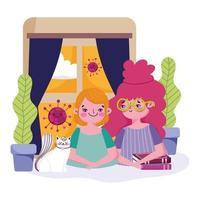 niños pequeños y gato en cuarentena juntos