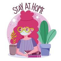 Young girl wearing face mask, stay at home banner vector