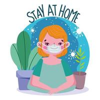 Young boy wearing face mask, stay at home banner