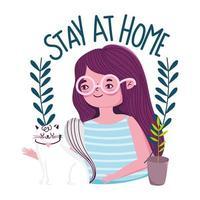 mujer joven con gato blanco, quédate en casa banner