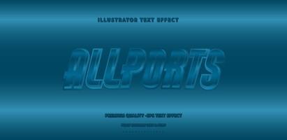 Metallic Alllports Text Style  vector