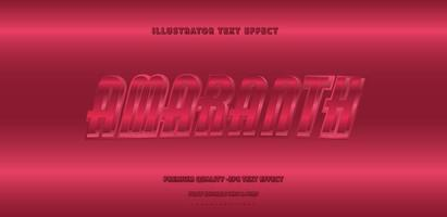 Shiny Metallic Amaranth Text Style vector