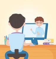 Young man studying online with teacher on computer screen vector