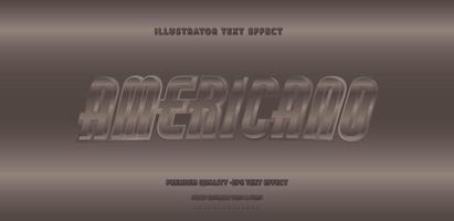 Shiny Metallic Americano Text Style  vector