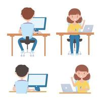 Online education with students on devices set vector