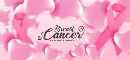 cartel de globos rosados de concientización sobre el cáncer de mama vector