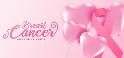 mes de concientización sobre el cáncer de mama corazón globos rosados