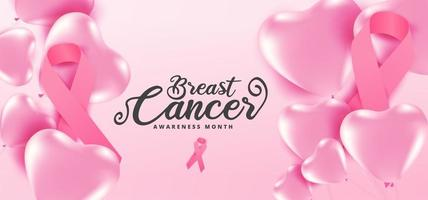 Breast cancer awareness month pink heart balloons and ribbons vector