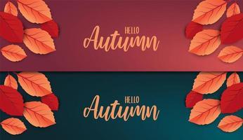 hola otoño banner de texto con hojas vector