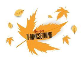 feliz día de acción de gracias en hojas de arce vector