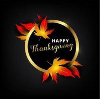 feliz día de acción de gracias texto en marco metálico dorado con hojas