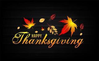feliz texto de acción de gracias con hojas de otoño en negro