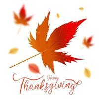 feliz mensaje de acción de gracias y hojas de arce vector