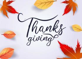 texto de acción de gracias decorado con hojas de otoño vector