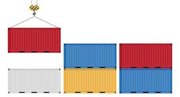 filas de contenedores de colores y uno en un gancho vector