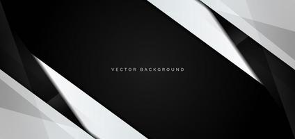 Banner of White and Black Glossy Angles on Black vector
