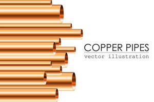 Different sized copper pipes vector