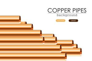Collection of isolated copper pipes vector