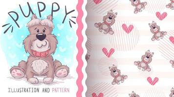 Cute big dog character and seamless pattern vector